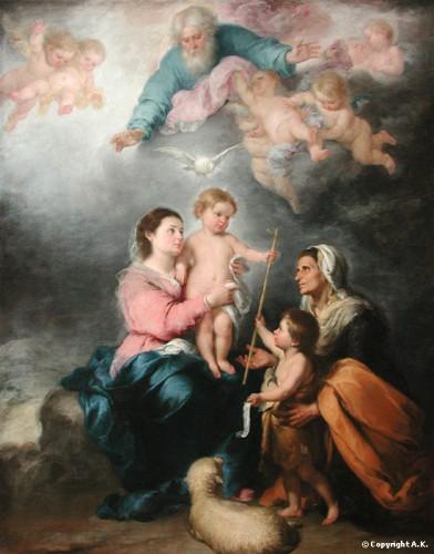 peinture, Bartolomé esteban, venitien, Murillo, Sainte famille, Jesus, Marie, religion