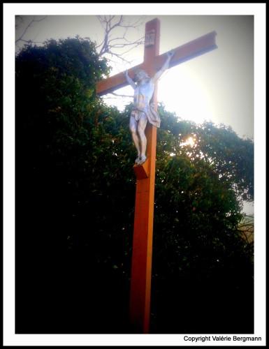 photo, croix, jésus, arbres, ciel, couleurs, forêt, saou
