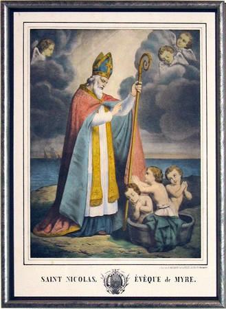 Saint-Nicolas, évêque, protecteur, enfants, lithographie