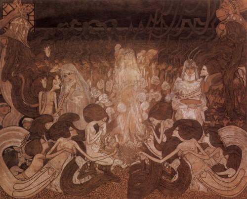 art, peinture, art nouveau, Jon Toorop, Klimt,tableau,toile, filles