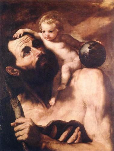 art, christ, Ophe, légende, saint, christophe, peinture, tableau, baroque