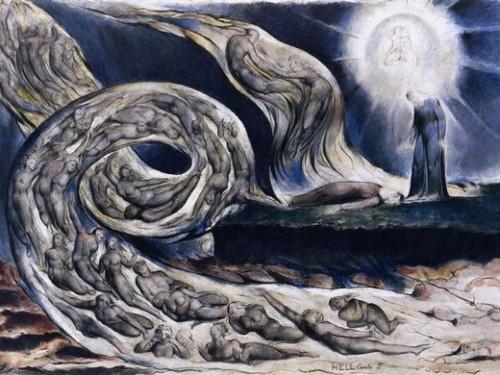 art, peinture, Blake, couleurs, Dante, tourbillon