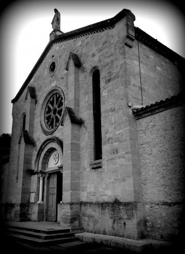 photo, noir et blanc, façade, église, Allex, drôme, entrée, parvis