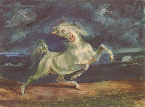 photos, peinture, tableau, Delacroix, romantisme, art, musée, cheval, orage, couleurs,