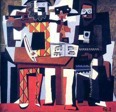 art, Picasso, musiciens, moderne, cubisme