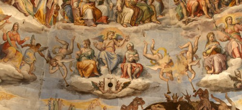 art, renaissance, Florence, cathédrale, coupole, dôme, fresque, Brunelleschi, vasari, zuccari, peinture, beautésjugement universel, scènes,