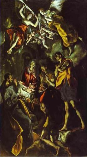 Jésus, crèche, bergers, arts, El greco, le prado