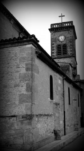 photo,noir et blanc, clocher,vierge,façade,église,allex,drôme,entrée,parvis
