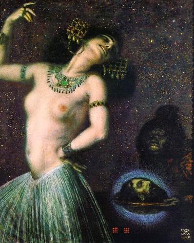 Salomé,peinture, tableau, toile, von stuck,religion,princesse juive, herode,  secession, art, nouveau, , peintre, artiste, mytholologie