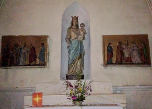 photos, art, architecture, Vierge, enfant, colonnes, église, allex, st maurice, bénitier