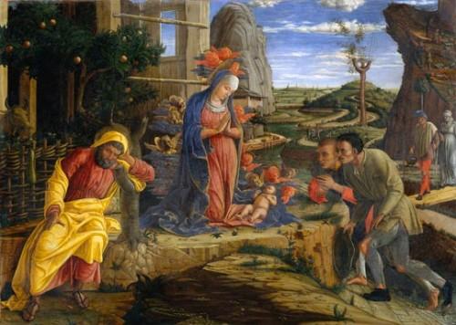 Mantegtna, adoration, bergers, Jésus, art, peinture
