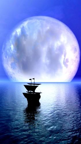 photo, voilier, océan, plénitude, lune, nuages