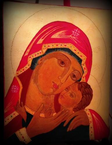 art, icônes, image, sainte, vierge, enfant, peinture