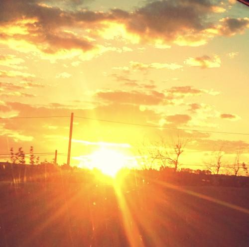photo, route, soleil, coucher, perspective, rayons, lumière, paysage, luminosité, éclairage