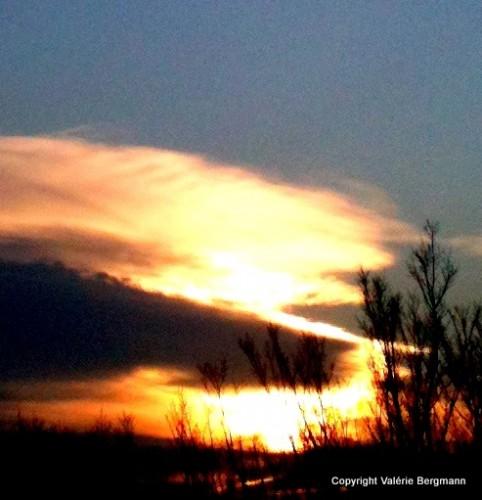 photo, soleil, coucher, ciel, nuages, couleurs