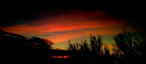 photo, ciel, soleil, coucher, rouge, pourpre, nuages