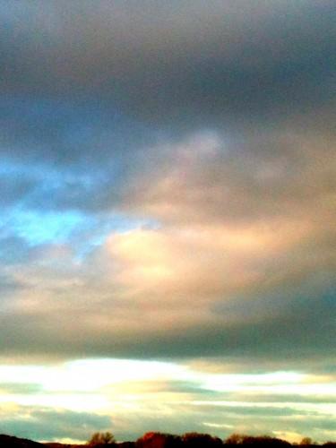 photo, ciel, nuages, couleurs, rose, bleue