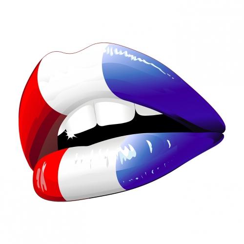 Drapeau français, bouche, liberte, égalité, frivolité, fraternité, pAtriotisme