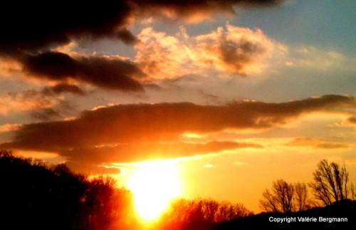 ciel, coucher, soleil, chaleur, photo