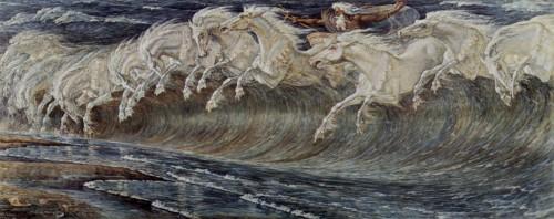 art, nouveau, romantisme,Walter Crane, Neptune, peinture, peintre, artiste, toile, chevaux