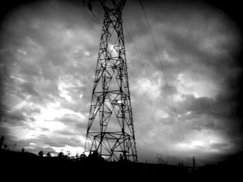 photo, artistique, nuit, pylône, route, nuages, clair, obscur