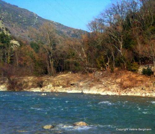 photo, rivière, onde, cailloux, lumières, nature