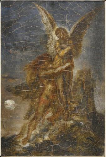 art, peinture,Gustave Doré, bible, Jacob, ange, couleurs