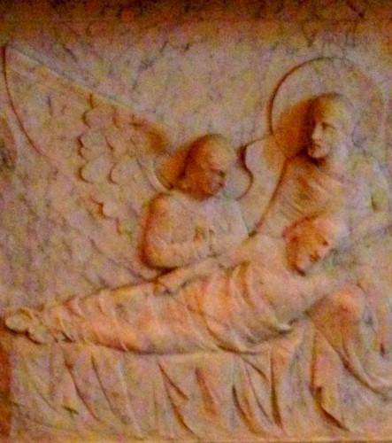 photo, anges, gardiens, décor, fresque, sculpture, église, décor, marbre