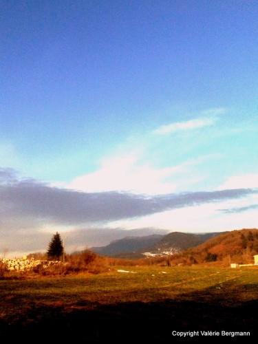 photo, ciel, neige, herbe, nuages, paysage, nature