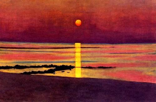 art, Vallotton, peinture, soleil, couleurs, violet, bronze, mer