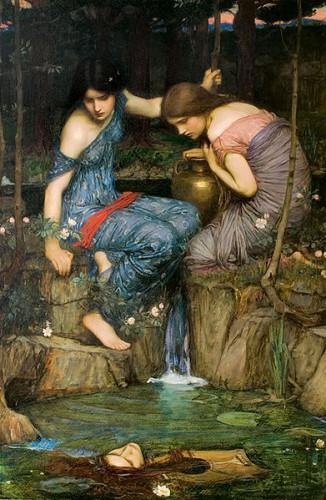 art, peinture, impressionnisme, Waterhouse, anglais, mythologie, légende, arthurienne