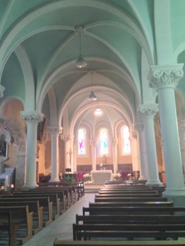 art, église, Drôme, montoison, intérieur, voûte, presbytère, vierge, Dieu, croix, vitraux, village