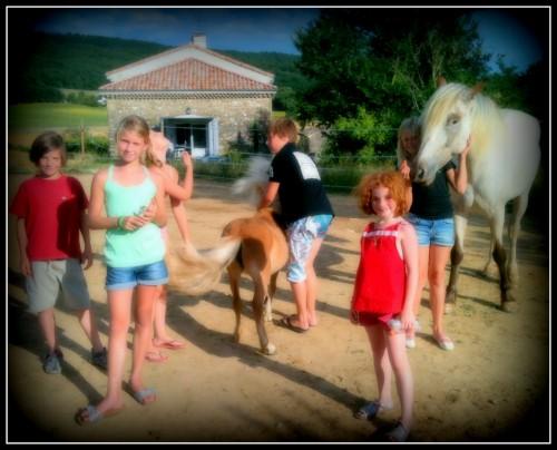 photo, enfants, animaux, vacance, joie, les chanaux, drôme