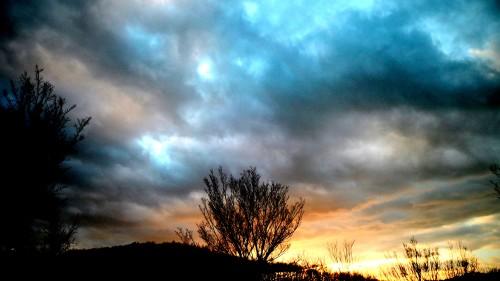 photo, cieux, paysage, soleil, nuages