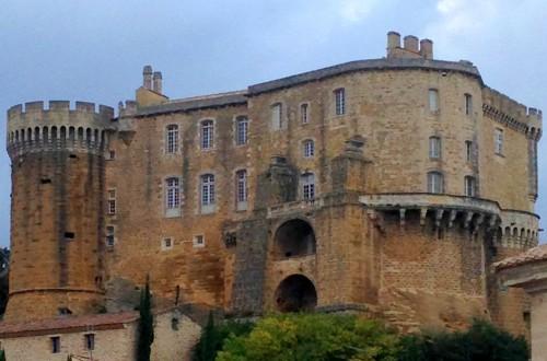 photo,château fort, féodal, moyen-âge, tourisme, suze la rousse, drôme, donjon, panorama