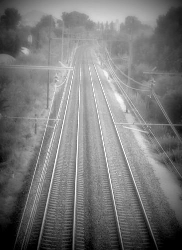 photo, chemin, fer, rails, paysage, ferroviaire, train, électricité, drôme